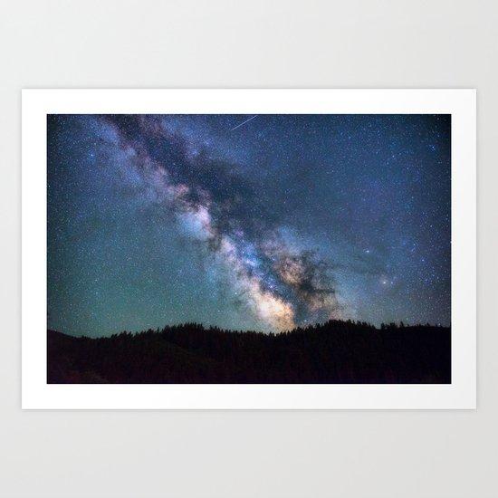 milky way night sky Art Print