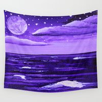 moonrise Wall Tapestries featuring Purple Moonrise by Aries Art