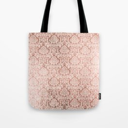 Vintage white faux rose gold elegant floral damask Tote Bag