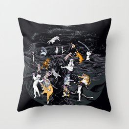 Meowlin Temple Throw Pillow