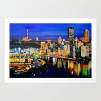 pittsburgh Art Prints featuring Pittsburgh by Emily May Carson