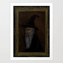 Dark Wizard portrait framed, black background Art Print
