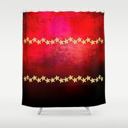 Red and black textured background decorated with gold flowers Shower Curtain