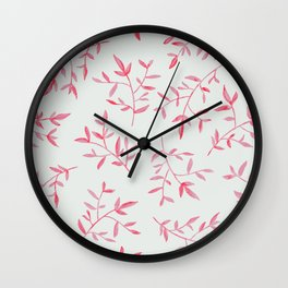 PINK LEAVES Wall Clock