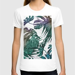 Tropical Palm Leaves on Marble T-shirt
