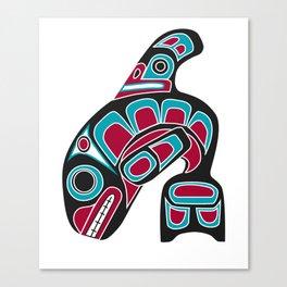 Pacific Northwest Coast Orca Whale Haida Art - Native American Tribal Canvas Print