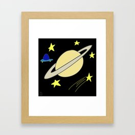 Planet in Space with Stars and a UFO Drawing Framed Art Print