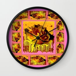 Yellow Roses on Coral-Pink-Golden Colors Patterned Abstract Wall Clock