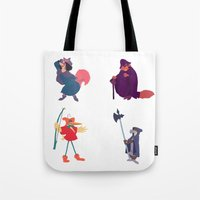 robin hood Tote Bags featuring The many disguises of Robin Hood by Bruno Gabrielli