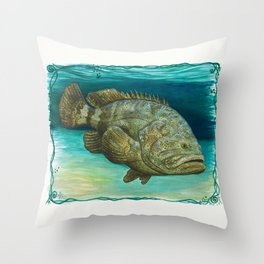 """""""Goliath Grouper"""" by Amber Marine ~ Watercolor Painting, (Copyright 2015) Throw Pillow"""