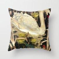 swan Throw Pillows featuring Swan by Lara Paulussen