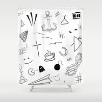 tattoos Shower Curtains featuring HL Tattoos by Stag Nacht