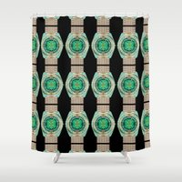 watch Shower Curtains featuring Glass Watch by Phil Perkins