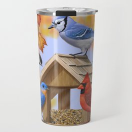 Autumn Bird Feeder Gathering Travel Mug