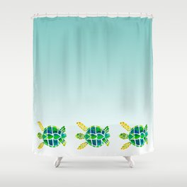 Swimming Baby Sea Turtles Shower Curtain