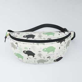 Seamless pattern with cute baby buffaloes and native American symbols, white Fanny Pack