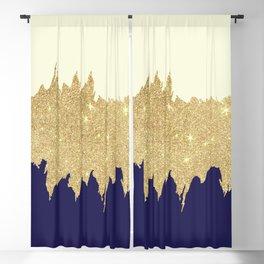 Navy blue ivory faux gold glitter brushstrokes Blackout Curtain