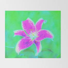 Hot Pink Stargazer Lily on Turquoise Blue and Green Throw Blanket