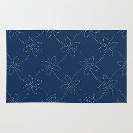Traditional Indigo Blue Japanese Needlework Rug