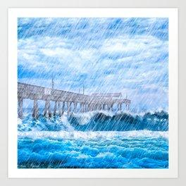 Storm Over The Sea - Tybee Island Pier Art Print