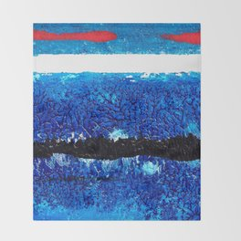 Two red brush strokes for Matisse Throw Blanket