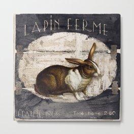 Vintage French Farm Sign Rabbit Metal Print