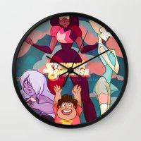 steven universe Wall Clocks featuring Steven Universe by Merunyaa (Meru)