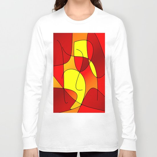 ABSTRACT CURVES #1 (Reds, Oranges & Yellows) Long Sleeve T-shirt