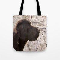 labrador Tote Bags featuring black Labrador by Doug McRae