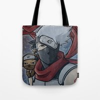 kakashi Tote Bags featuring Kakashi and Pakkun by DeanDraws