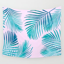 Palm Leaves on Pink Wall Tapestry