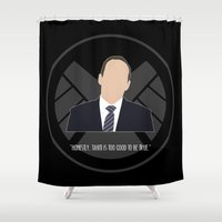 agents of shield Shower Curtains featuring Agents of S.H.I.E.L.D. - Coulson by MacGuffin Designs