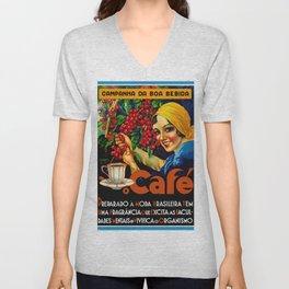 Vintage Brazil Coffee Ad Unisex V-Neck