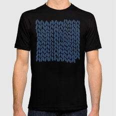 Half Knit Navy Black Mens Fitted Tee MEDIUM