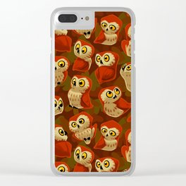 Northern Saw-whet owls pattern. Clear iPhone Case