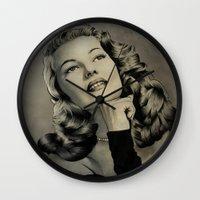 wasted rita Wall Clocks featuring Rita by Nano Barbero