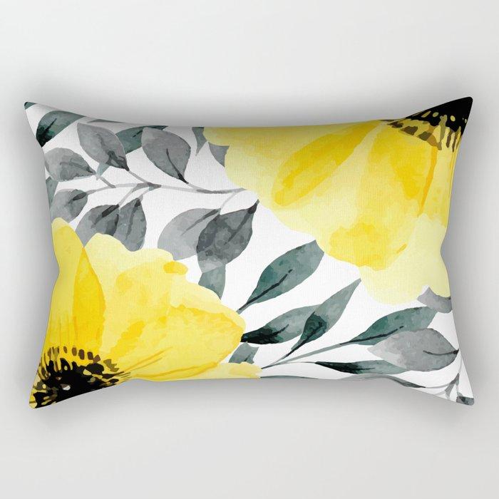 Big yellow watercolor flowers Rectangular Pillow