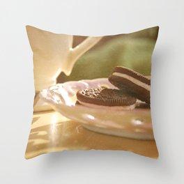 tea + cookies Throw Pillow