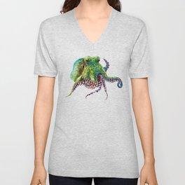 Olive Green Octopus Unisex V-Neck