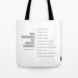 Ten principles for Good Design. By Dieter Rams Tote Bag