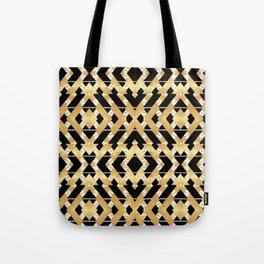 Gold Foil and Black Art Deco Chevron Tote Bag