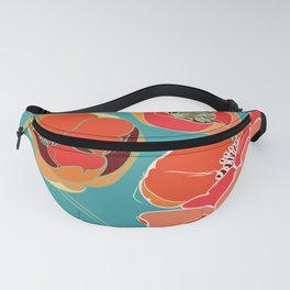 Turquoise California Poppies Fanny Pack