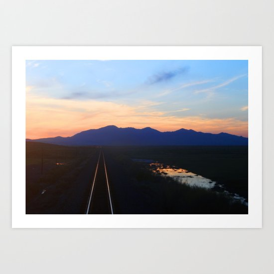 The Sunset End of the Train Track Art Print