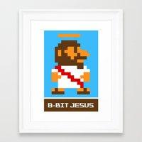 8bit Framed Art Prints featuring 8Bit Jesus by JChevere
