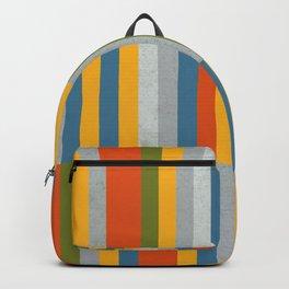 Orange, Green, Blue, Gray / Grey Stripes, Nautical Maritime Backpack