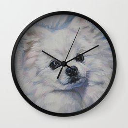 white POMERANIAN dog art portrait from an original painting by L.A.Shepard Wall Clock