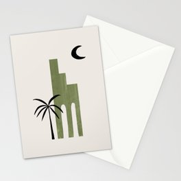 Mid Century Modern Minimalist Ancient Ruin Architecture Olive Green Palm Tree On Paper Collage by Ejaaz Haniff Stationery Cards
