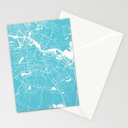 Amsterdam Turquoise on White Street Map Stationery Cards