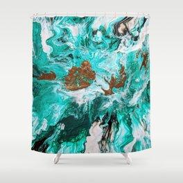 Viridian Splashes Shower Curtain