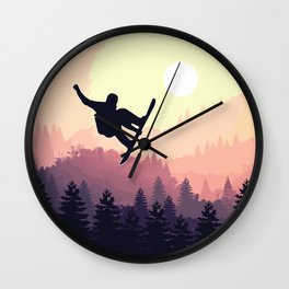 Snowboard Skyline III Wall Clock